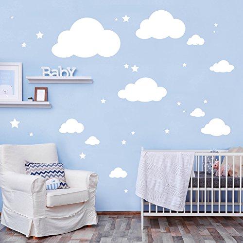 Wandtattoo Große Deko Wolken mit Sternen in der Farbe weiß - 10 Wolken & 20 Sterne im Set