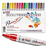 Paint Pens Paint Markers Never Fade Quick Dry and Permanent,18 Color Oil-Based Waterproof Paint Marker Pen Set for Rock Painting, Stone, Ceramic, Wood, Fabric, Plastic, Canvas, Glass, Mugs, DIY Craft