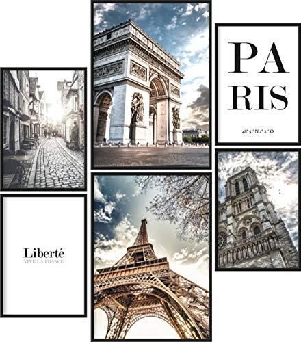 Papierschmiede Poster Set Paris | 6 Bilder als stilvolle Wanddeko | 2X DIN A4 und 4X DIN A5 | Eiffelturm Frankreich Triumphbogen