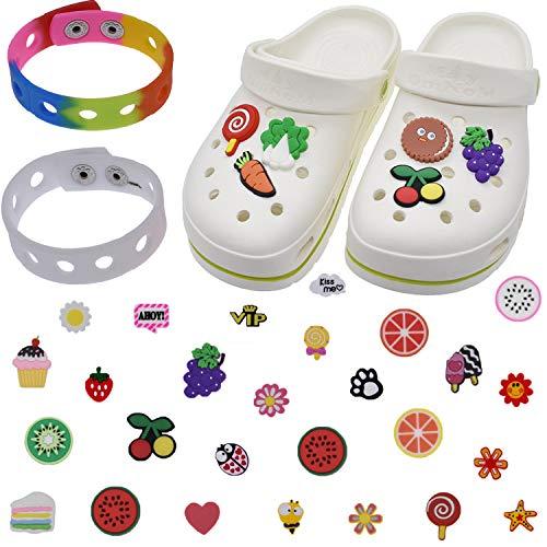 JHGCVX 115 abalorios para zapatos y pulsera, vienen con 2 pulseras de pulsera, diferentes formas de regalo para niños y adolescentes