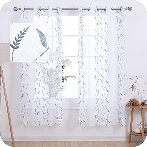 Amazon Brand – Umi Cortinas Translucidas Decorativas con Motivos Espiga de Trigo con Ojales 2 Piezas 140x180cm Azul Verde