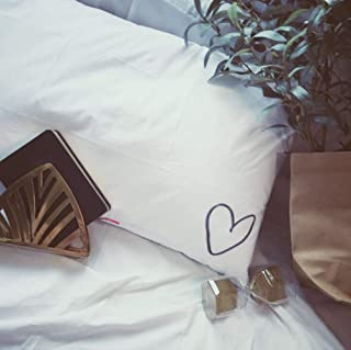 Yongyu Chenzinan Puro algodón Almohada 48 * 74cm Amor Bordado de Almohada Blanca Cubierta de Almohadas for Dormir (Color : White)