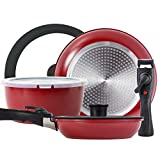 ROCKURWOK Pots and Pans Set Nonstick, Hard Anodized Cookware Set with 2 Removable Handle, Gas,...