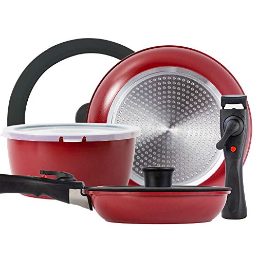 ROCKURWOK Cookware Set Pot and Pans with 2 Removable Handle, Nonstick, 3-Piece, Red