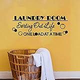 Logotipo de la sala de lavandería pegatinas de ventana pegatinas de pared de vida limpia única murales de espuma de lavandería se pueden personalizar colores 57x20cm