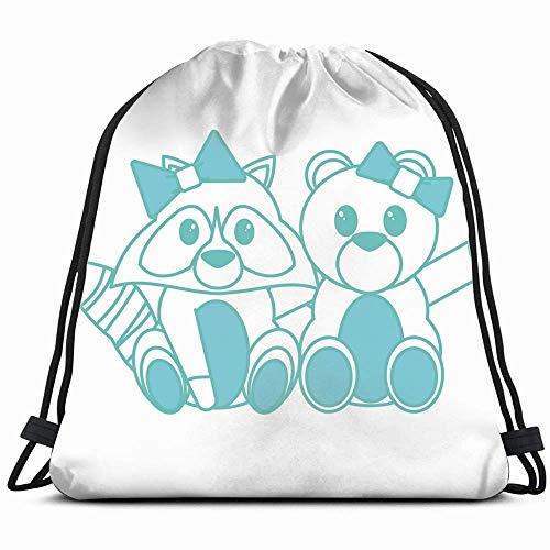 Bear Raccoon Design Dieren Fauna suède tas met trekkoord rugzak, met opvouwbare pailletten rugzak voor scursionisme strandtas 14 x 17 inch