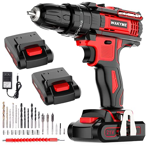 WAKYME 21V Impact Drill with 2 Batteries, Cordless Drill Driver 350 In-lb Torque 25+3 Clutch, 3/8' Keyless Chuck, Variable Speed, Built-in LED Power Drill for Drilling Wall, Brick, Wood, Metal