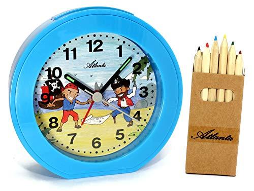 Kinderwecker ohne Ticken Jungen Piraten Blau Quarz Analog mit Buntstiften - 1998/5 BS