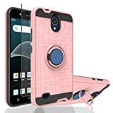 Ayoo:AT&T AXIA Case,AT&T AXIA QS5509A Case,Cricket Vision DQON5001 / DQON5001 Cute,Cricket Vision Case with HD Phone Screen Protector,360 Degree Rotating Ring Stand Case for AT&T AXIA-ZK Rose Gold