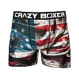 Crazy Boxer T092-2-S Boxer unitario Microfibra (92% poliéster-8% Elastano), USA/Purgue, S Hombres