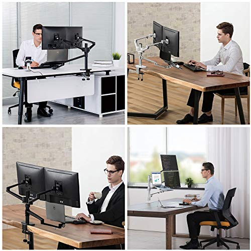 Height Adjustable 3 in 1 Laptop Monitor Stand Compatible with 13 to 17.3 inch Laptop, Hold 2 Monitors 11 to 27 inch with Vesa, Monitor Desk Stand arm Riser Mount Stand Workstation (Black)