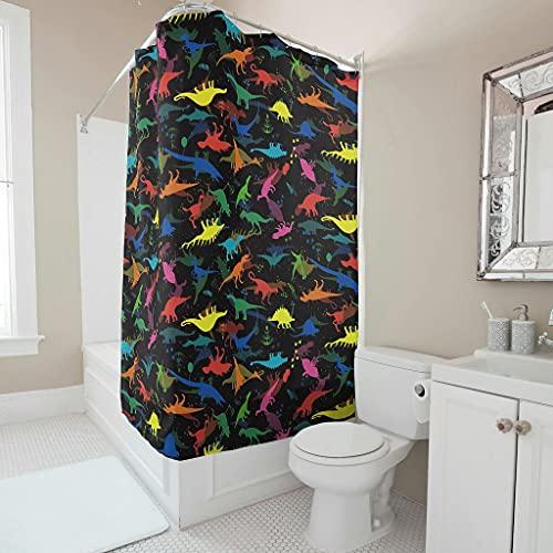 Sweet Luck Cortina de ducha con diseño de dinosaurios, antimoho, resistente al agua, lavable, poliéster, textil, con anillas, para cuarto de baño, color blanco, 150 x 180 cm