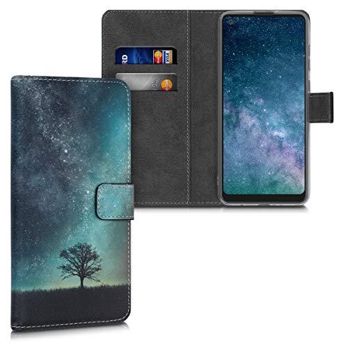kwmobile Wallet Hülle kompatibel mit Samsung Galaxy A21s - Hülle Kunstleder mit Kartenfächern Stand Galaxie Baum Wiese Blau Grau Schwarz