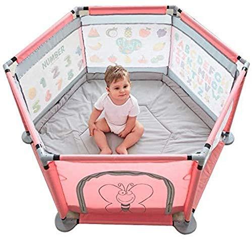 Corralitos de Seguridad para Vallas para bebés Carpas para bebés Patio de Juegos Corralito Protector para el hogar (hexágono Rosa)