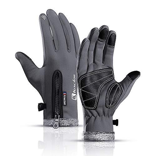 Hanggg Outdoor wasserabweisende Reißverschluss Sport Reiten warme Handschuhe rutschfeste Touchscreen-Handschuhe