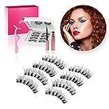 Glamm Magnetic Eyelashes w/Eyeliner 4 Pairs Reusable, 3D, Waterproof, No Glue, Thick, Long, Natural Look Extension Kit w/Tweezers - False Fake Full Eye Lashes Magnet Set for Women, Makeup, Mascara