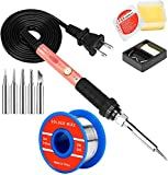 Soldering Iron Kit, 60W Soldering Iron with Interchangeable Iron Tips, 5-in-1 Adjustable Temperature Soldering Welding Iron Kit for any Hobby Enthusiast 110V US Plug