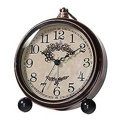 Kpin Vintage Antique Table Clock, Silent Non-Ticking Desk Alarm Clock Battery Operated Silent Quartz Movement, Suitable for Kids Seniors Bedroom Living Room Decor. (Black, M)