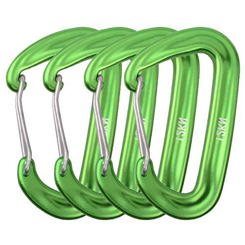 Azarxis Mousquetons en Aluminum 12kN Mousqueton Porte Clé en Forme D Léger Boucles Clips 4 Pièces pour Camping Randonnée Voyage Pêche Sac à Dos (Vert)