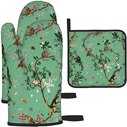 Monkey World Green Oven Mitts and Pot Holders Potholders for Kitchens BBQ Silicone Cooking Gloves product image