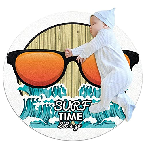 Alfombra Redonda De Algodón Alfombra Sala De Estar Dormitorio Estudio Afombras De Mesa De Centro Diámetro Gafas Surf Time