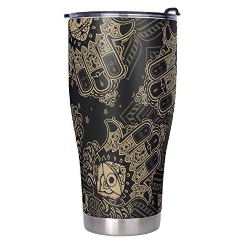 RNGIAN Taza de café de mano creativa, aislada al vacío, de acero inoxidable, para él Her White, 900 ml