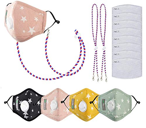 4 Pack Face Mouth Cotton Cloth Protect Kids Children Bandanas Lanyard Activated Carbon Filter Star Boy Girl (Middle Seam Grey Kids)