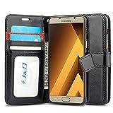 J&D Compatible para Galaxy A3 2017 Funda, [Protección de Cartera] [Soporte Plegable] Funda Pesada Resistentes Billetera para Samsung Galaxy A3 (Release in 2017) Funda Cuero - Negro