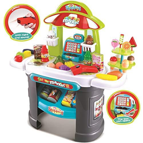 deAO Supermercato Negozio di Caramelle Negozi e Cibo Giocattoli Playset d'Imitazione per Bambini Set Include Accessori Scanner Luci e Suoni