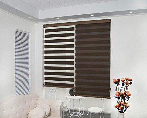 Zebra Polyester Blinds for Windows (Coffee, 60x140 cm)