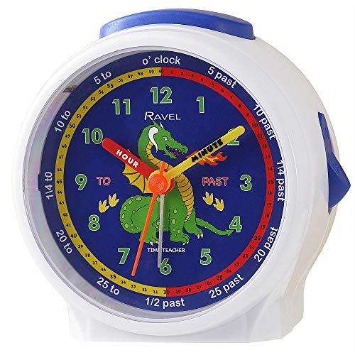 Ravel - Reloj despertador para niños, diseño de dragón blanco
