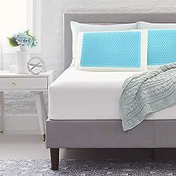 professional Comfort Revolution F01-00699-ST0 Blue Bubble Gel + Memory Foam Pillow, Standard, White