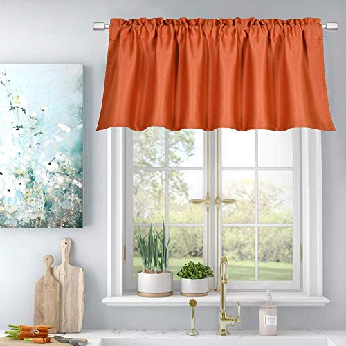 Energy Efficient Valance for Windows,Room Darkening Durability Topper Curtain Rod Pocket Sun Block Valance,Each is 52 Inch by 18 Inch,Sold Single Panel,Burnt Orange