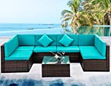 Rhomtree 7 PCS Outdoor Rattan Wicker Furniture Set Garden Patio Sectional Sofa Couch with Cushioned Seat and Glass Coffee Table for Poolside, Backyard, Deck or Patio (Blue Cushion)