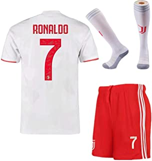 Feeke 7 Ronaldo Shirt 2019-2020 Season - Juventus Cristiano Ronaldo Away Soccer T Shirt Shorts and Socks for Kids Youth White
