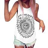 Mujer Camiseta,Sonnena Patrón de Sol Estampado sin Manga Camiseta para Mujer y Chica Joven Casual Sexy Traje de Verano Fresco para Citas Actividades al Aire Libre (M, Blanco)