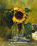 2021- 2022 18 Month Weekly & Monthly Planner July 2021 to December 2022: Henri Matisse -Nature died with Sunflower- Monthly Calendar with U.S./UK/ ... in Review/Notes 8 x 10 in. Painting Artist