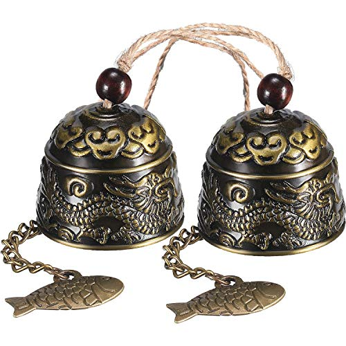2 Pieces Fengshui Bell Vintage Dragon Bell Fengshui Wind Chimes for Home Garden Hanging Good Luck Blessing
