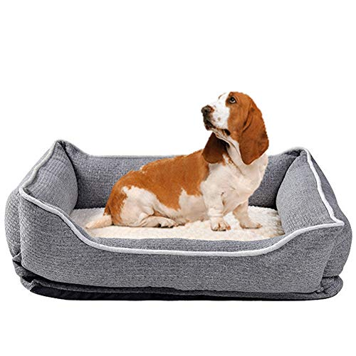 Hondenmand, afneembaar en wasbaar groot medium klein golden retriever Duitse herder samojeed hondenhok met 3D massage spons,Gray,XL