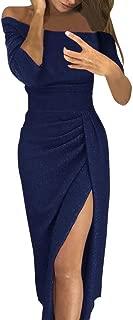 FRana Dresses for Women Wrap Dress Off Shoulder Dresses High Split Maxi Long Evening Dresses