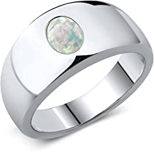 Gem Stone King 1.05 Ct Oval White Simulated Opal 925 Sterling Silver Men's Ring (Available 7,8,9,10,11,12,13)