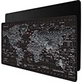 JIALONG Gaming Mouse Pad Large XXL Black World Map & Classic Black (35.4×15.75×0.15in)