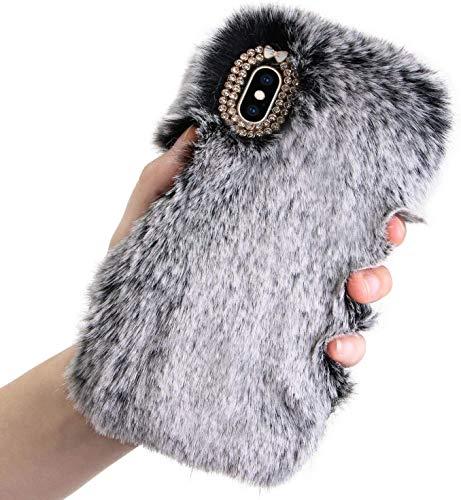 Jorisa Plüsch Hülle Kompatibel mit Huawei P20 Pro,Niedlich Pelzig Weich Flauschige Winter Warm Handyhülle Faux Pelz Haar Stoßfest Schutzhülle mit Glitzer Diamant Strass,Dunkelgrau