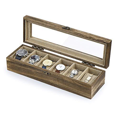 SRIWATANA Uhrenbox 6 Uhren Organizer Uhrenkasten Holz mit Glasfenster Vintage Design Geburtstag Geschenk für Herrn Dame Freund Freundin