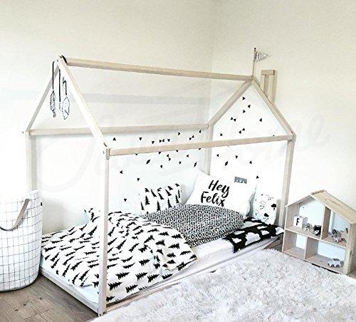 Sweet Home à partir de bois Maison Lit Sol Lit Montessori Lit Bois Lit (200 x 90 cm)