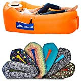 Chillbo Shwaggins Inflatable Couch – Cool Inflatable Chair. Upgrade Your Camping Accessories. Easy Setup is Perfect for Hiking Gear, Beach Chair and Music Festivals. (Orange + Blue)
