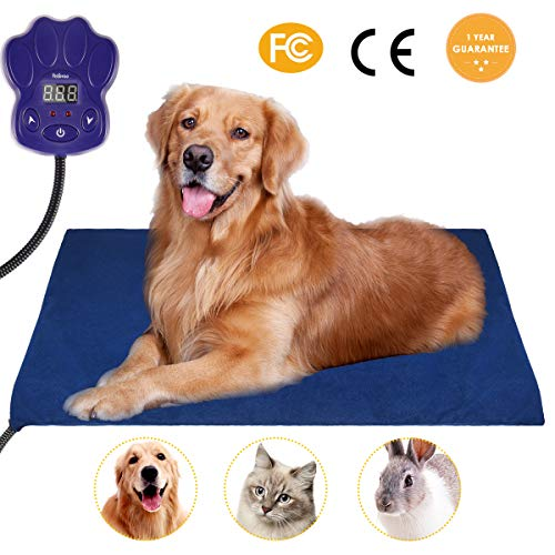 Heating Pads for pets, 2018 Upgraded Electric Heating Pad for Dogs &Cats Warming Dog Beds Pet Mat Activated with Chew Resistant Cord Soft Removable Cover 25.5x15.7IN Blue