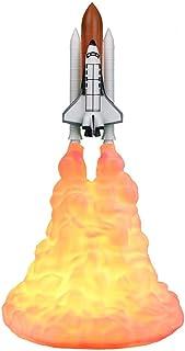 ALLOMN Luz De Noche De Decoración 3D, Lámpara De Cohete De Impresión 3D Lámpara De Transbordador Navidad Recargables USB para Niños 28cm