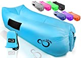 Inflatable Air Lounger Lounge Bag Chair -Headrest, 2 Pockets, 700 Gauge Liner, 420D Ripstop, Securing Loop & Stake - Extra Large Travel Bag- For Beach Or In (Light Blue)