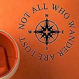 TYLPK Kompass Vinyl Art Deco Nicht alle Wanderer verloren Schwarz 35cmwidex35cmhigh